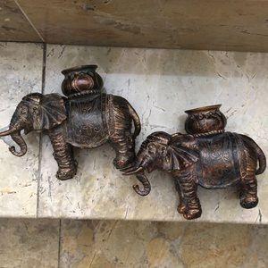 Brass elephant candleholders